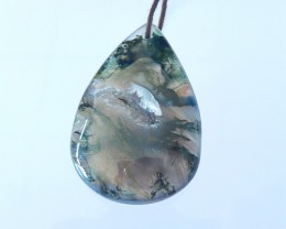 Semitransparent Moss Agate Pear Shape Necklace Pendant Bead(17122302)