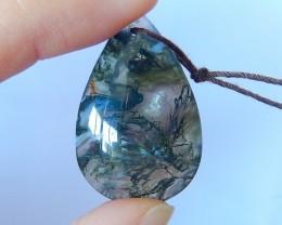 On Sale Semitransparent Moss Agate Water Drop Pendant Bead(17122302)