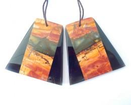 Newest Design,Natural Muti Color Picasso Jasper AND Obsidian Intarsia trape