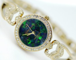 Queen Ladies Gold Watch Mosaic Opal