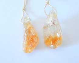 Holiday Gift,Natural Nugget Citrine Earring Pair For Women(17122309)