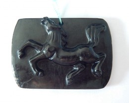 136CT Natural Obsidian Carving Running Horse Necklace Pendant Bead(17122404