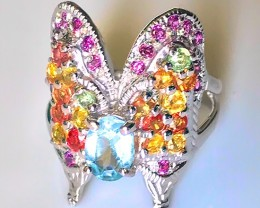 Beautiful Butterfly Topaz, Garnet Sapphire .925 Sterling Silver Ring No Res