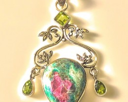 Ruby Zoisite Peridot Large Sterling Pendant No Reserve