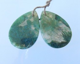 Hot Sale,Natural 47CT Natural Moss Agate Pear Shape Earrings For Women(1712