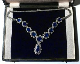 20ct Blue Sapphire Diamond Necklace Lavaliere, 18K White Gold