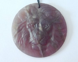 101ct Natural Purple Agate Carved Lion Head Round Necklace Pendant For Jewe