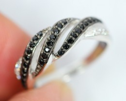 Lot 14 ~ 19.12Ct Natural Black Spinel 925 Silver Ring Sz5