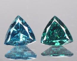 0.28 Cts Natural Blue Diamond 2 Pcs Trillion Africa