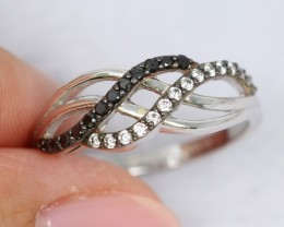 NR Lot 09 ~ 11.35Ct Natural Black Diamond 925 Silver Ring Sz6