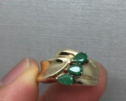 (Box 2) Amazing $2900 Nat 1.00tcw Designer Emerald Gold Ring