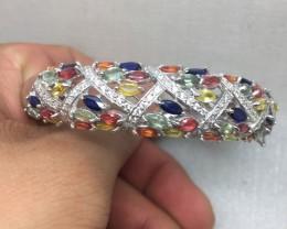 ( Box 2) Brilliant Nat 149.3tcw. Multi-Color Sapphire &CZ Bangle Heated