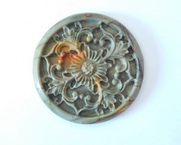 Vintage Flower Carving,Natural Muti Color Picasso Jasper Carved Flower Roun