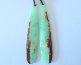 28ct Natural Chrysoprase Teardrop Long Earrings For Women(17123004)