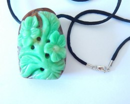 Hot Fashion,Flower Necklace,Natural High Quality Chrysoprase Handcarved Flo