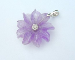 New Design,Fashion Sterling 925 Silver Amethyst Carved Flower Necklace Pend
