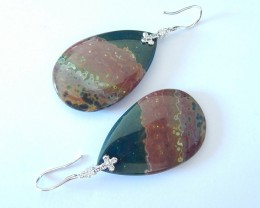 New Arrival,Sterling 925 Silver Dangle Earrings,Natural Unique Ocean Jasper