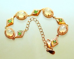 41.5Ct 925 Silver Pated Rose Gold Necklaces Jadeite Jade