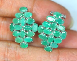 37.70ct Sterling Silver 925 Natural Emerald Earring GW372