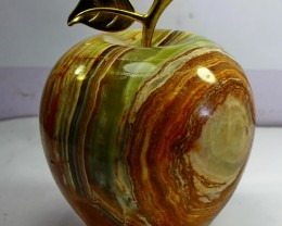 7230 CT Natural - Unheated Onyx Carved Apple Stone Special Shape
