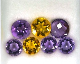 10.31 Cts Natural Amethyst & Citrine 7 Pcs Round Parcel 7 & 8 mm
