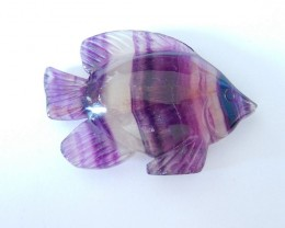 Lovely Fish Carving,Natural Purple Fluorite Handcarved Fish Cabochon,Factor
