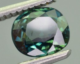 Certified 1.92 ct Unheated Bi Color Sapphire Blueish Green SKU.1