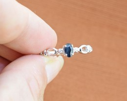 No Reserve - Natural Deep Blue Sapphire 925 Sterling Silver Ring Size -US 7