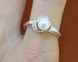 N/R Genuine Pearl 925 Sterling Silver Ring Size US9 (SSR0303)