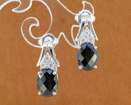 Natural Black Sapphire 925 Sterling Silver Earrings (SSE0309)