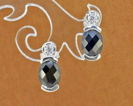 Natural Black Sapphire 925 Sterling Silver Earrings (SSE0312)