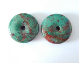 30X9MM Natural Chrysocolla Round Earring Pair For Women,Fashion Women Jewel