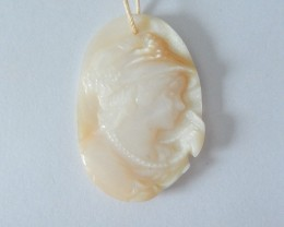 47ct Natural Shell Carved Beauty Girl Necklace Pendant Bead(18010506)
