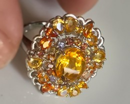 An Exquisite Citrine Sapphire Ring Size 9 Beautiful gems