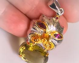Fantastic Beast Lemon Quartz Rhodolite Garnet Sterling Pendant NR