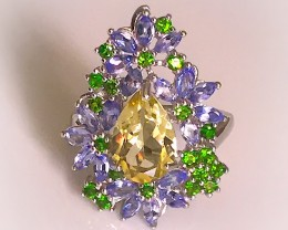 Oh so Pretty Tanzanite Chrome Diopside Ring Size 8