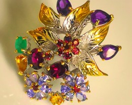 A Brilliant Multi Gem Bouquet Ring Size 6