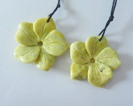 Flower Earrings,Natural Yellow Serpentine Handcarved Flower Earring Matchin