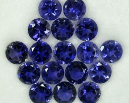 5.20 Cts Natural Violet Blue Iolite 4.50 mm Round 17 Pcs Parcel