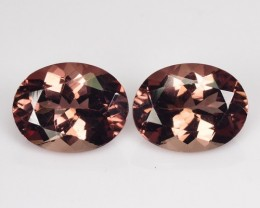 ~RAREST~ 4.04 Cts Natural Brownish Pink Apatite (9x7 mm) Oval 2 Pcs Brazil