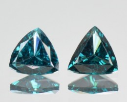 0.30 Cts Natural Blue Diamond 2 Pcs Trillion Africa