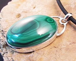 Malachite Sterling Silver pendant with fine silver bezel