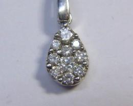 0.22ct  Diamond Pendant , Solid 14kt white gold