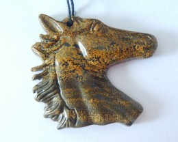 Horse Head Pendant,Natural Chohua Jasper Handcarved Horse Head Necklace Pen