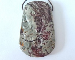 New Arrival,139.5ct Natural Chohua Jasper Carving Beautiful Girl Necklace P
