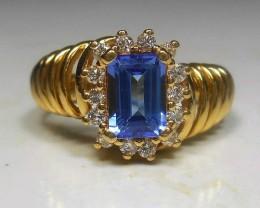 (B1) Stunning $5800 18k sol Gold Nat 2.47ct Designer Tanz & Diamond Rin