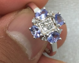 (B1) Brilliant Cert. $1000 Nat 1.15cts Tanzanite & Diamond Ring