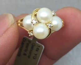 B(1) Superb Cert. $1500 Nat 20mm Cultured AAA Pearl &Diamond Ring