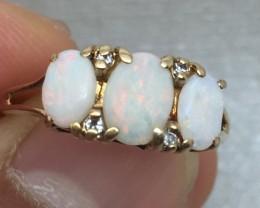 (B1) Wonderful $1700 Nat 1.15ct White Opal & Diamond Ring