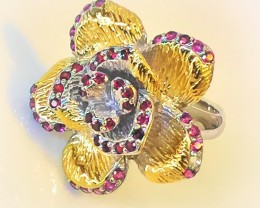Orchid Treasure Rhodolite Garnet Gold Silver Ring Size 9